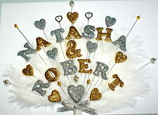 Double name , beads, feathers  Engagement or Wedding  custom made Cake Topper