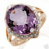 Gorgeous Ring With 12.80ctw Diamonds,Genuine Amethyst.