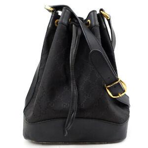 GUCCI Shoulder Bag Drawstring GG Canvas Leather Black