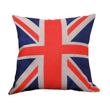 UNION JACK Throw Cushion Vintage Cotton Linen Pillow & ECO FRIENDLY INSERT