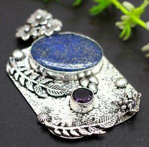 "925 Sterling Silver Lapis Lazuli & Amethyst Gemstone Jewelry Pendant Size-1.50"""