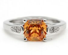 1CT Padparadscha Sapphire & Topaz 925 Sterling Silver Ring Jewelry Sz 7 SD1