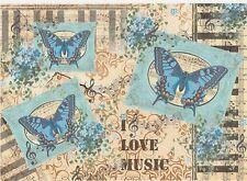 Papel De Arroz Para Decoupage Scrapbook Craft Hoja Mariposas Azul