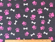 SNUGGLE FLANNEL *HOT PINK DOG PAWS & PINK BONES on BLACK*Cotton Fabric*NEW* BTY