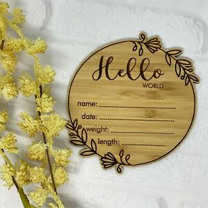 Hello World Wood Name Plaque Sign Baby Birth Announcement Details Pregnancy