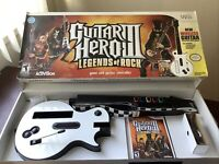 Wii Guitar Hero 3 Legends of Rock Complete In Box Bundle Guitar Game & Strap