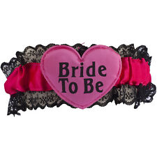 Lux Accessories Black and Pink Lace Heart Bride to Be Garter Belt Party Favor