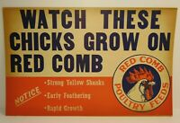 "22"" Antique Vintage 1950s RED COMB POULTRY FEEDS Graphic Farm Advertising Sign"