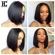 Lace Middle Human Hair Wigs For Black Women Peruvian Hair Silky Straight 12 Inch