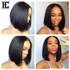 7a Brazilian Virgin Hair Wig Middle Part Bob Silk Straight Top Lace Wig HC Hair