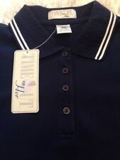 Time Out For Her Women's Navy Polo Shirt Sz Small 95% PIMA Cotton NWT