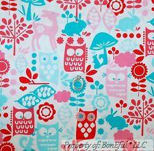 BonEful Fabric FQ Cotton Quilt White Red Pink OWL Bird Deer Rabbit Dot Mushroom