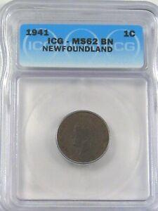 UNC 1941 Penny One Cent Newfoundland CANADA ICG MS62 BN.  #36