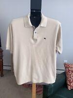Burberry Brit Men's Nova Check Trim Short Sleeve Polo Shirt Tan Beig Size Large