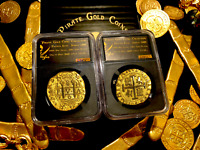 PERU 1708 8 ESCUDOS NGC GOLD Plated 1715 SHIPWRECK PIRATE GOLD COINS TREASURE