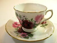Queen Anne Bone China Tea Cup & Saucer Red & Pink Rose Floral Gold Trim England