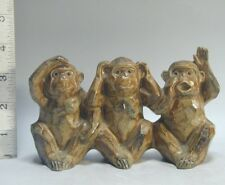 UNIQUE 3 Monkeys Figures #159 SEE HEAR SPEAK EVIL No Wise Figurine Statue Japan