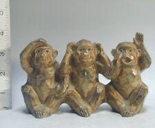 UNIQUE 3 Monkeys Figures #159 SEE HEAR SPEAK EVIL No Wise Figurine Statue Japan