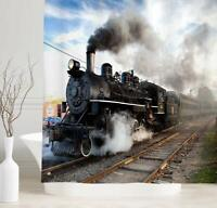 Railroad Train Steam Engine Industrial Waterproof Fabric Shower Curtain + Hooks
