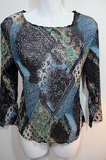 Alberto Makali L Top Brown Teal Sequins Square Neck Long Sleeves Large