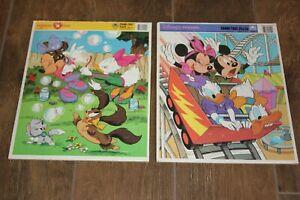 Vtg 2 Disney Golden Frame Tray Puzzles! Minnie n Me, Disney's Friends Mickey VG