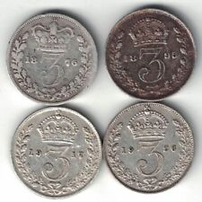 4 X GREAT BRITAIN 3 PENCE VICTORIA GEORGE V SILVER COINS 1876 1895 1917 1926
