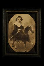 Antike Foto, Montage Eines Junge Mädchen à Cheval Richtung 1900