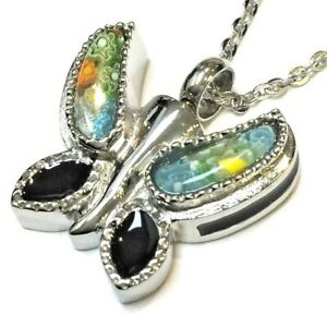 """Cremation Ashes Jewellery Keepsake Necklace Urn """"Rainbow Butterfly"""""""
