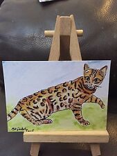 ACEO Art Carte Bengale Chat Profesional Print of Original Aquarelle
