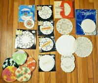 "Lot of 432 Vintage Paper Doilies SEALED & loose 4""- 6"" Variety & 5 Knit Coasters"