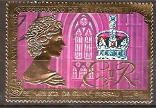EP117/50 GUINEE BISSAU Timbre OR de 1978 N° 391F,couronnement d'Elisabeth II