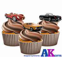 PRECUT Vintage Sports Car 12 Edible Cupcake Toppers Decorations Birthday Party