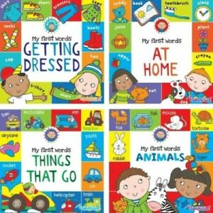 Set of 4 Board Book Bundle Baby Toddler Easy Learning First Words Book Gift Set