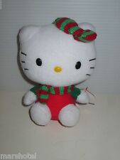 "SANRIO HELLO KITTY TY BEANIE BABIES CHRISTMAS GREEN RED SCARF PLUSH TOY 6"" TALL"