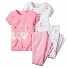 NWT Carters Girl Flamingo Pink Ballerina Tutu Short Sleeve Fall Pajamas Set 5 5T
