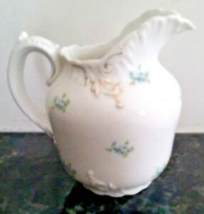 """Carlsbad China blue floral gold trim scalloped rim 5"""" tall pitcher MINT"""