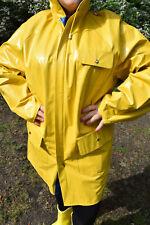 Friesennerz Lackmantel Regenmantel Gummimantel Wende PVC gelb blau Brusttasche