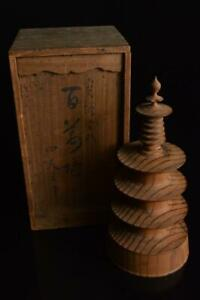 P3898: Japanese Wooden Shrine sculpture ORNAMENTS object art work, w/signed box