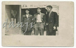 """young Men in SUITS+TIES one SMOKING a PIPE by """"WELLMAN"""" House*1907-20 RPPC Photo"""