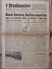 L'Humanité - (30 janv 1945) Joukov en Poméranie - Ivry - Alliance franco-URSS