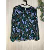 Banana Republic Long Sleeve Floral Chiffon Blouse Women's Size XS Black