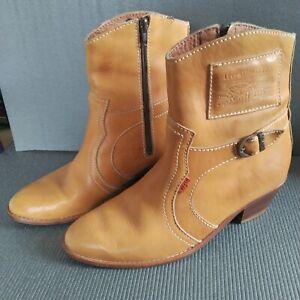 Vintage LEVI STRAUSS Mens Tan Leather Cowboy Boots size UK 9 / EUR 43 Levi's