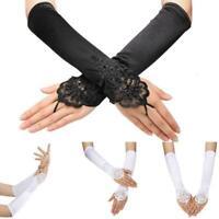 """US Women 1920S Long Flapper Fingerless Evening Opera Satin Gloves Bride 18.89"""""""