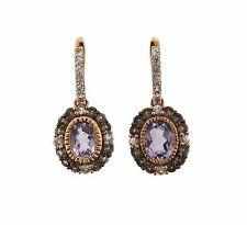 LeVian 14k Rose Gold White Sapphire Quartz Amethyst Earrings Retail $1833
