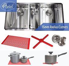 "Ariel 42"" 15mm Radius Stainless Steel Triple Bowl Kitchen Sink Combo 16 Gauge"