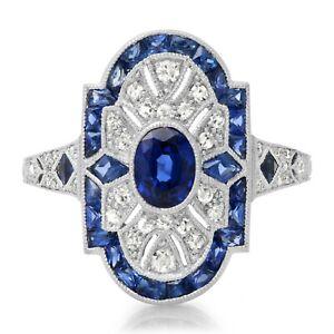 Oval Blue Sapphire Platinum Diamond Ring Art Deco Handmade Vintage Antique Look