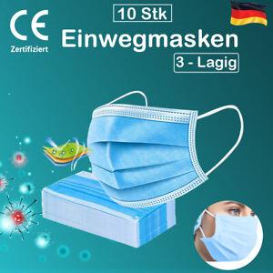 10x Mundschutz Maske Gesichtsmaske Filtermaske 3 Lagig Schutzmaske Atemschutz
