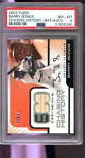 2002 Fleer Chasing History Barry Bonds Game-Used Bat Autograph AUTO Card PSA 8