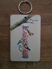 Garden birds, large Keyring , mini plaque, from my watercolour painting