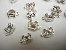 12 swarovski letter C 10mm crystal #4889 in/1-loop cast settings,sterling plate